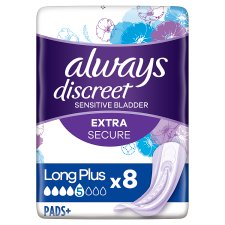 Always Discreet Long Plus Incont Pads 8 Pack