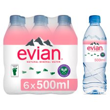 Evian Natural Mineral Water 6 X 500 Ml