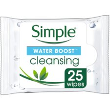 Simple Water Boost Facial Cleansing Wipes X25