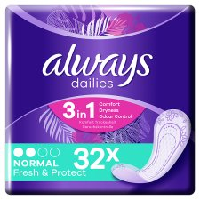 Always Dailies Fresh And Prot Normal Panty Liners 32 Pack