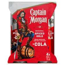 Captain Morgan Spiced Rum And Cola 4 X 250Ml