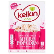 Kelkin M/W Sweet And Salty Popcorn 3 X 90G