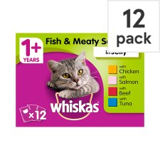 Whiskas 1+ Fish Meat Jelly Cat Pouches 12 X100g