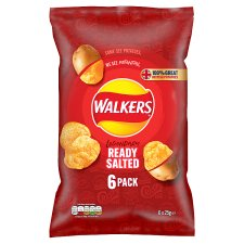 Walkers Ready Salted Crisps 6 X 25 G