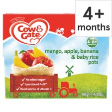 Cow Gate Mangoes Banana Apples And Baby Rice 4x100g Groceries