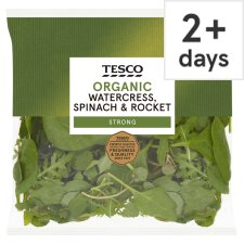 Tesco Organic Watercress Spinach And Rocket 80G