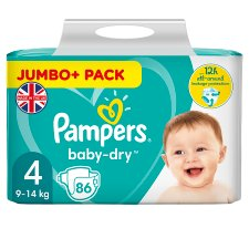 Pampers Baby Dry Size 4 Jumbo+ Pack 86 Nappies