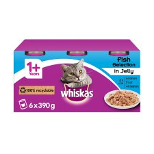 Whiskas 1+ Fish In Jelly Tinned Cat Food 6 X390g