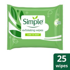 Simple Kind To Skin Exfoliating Face Wipes 25 Pack